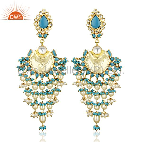 Turquoise Long Indian Chendelier Crescent Half Moon Chand Bali Silver Earring
