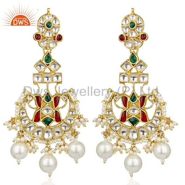 Southern Pearls Traditional Kundan Polki Gold Plated Silver Bridal Earring