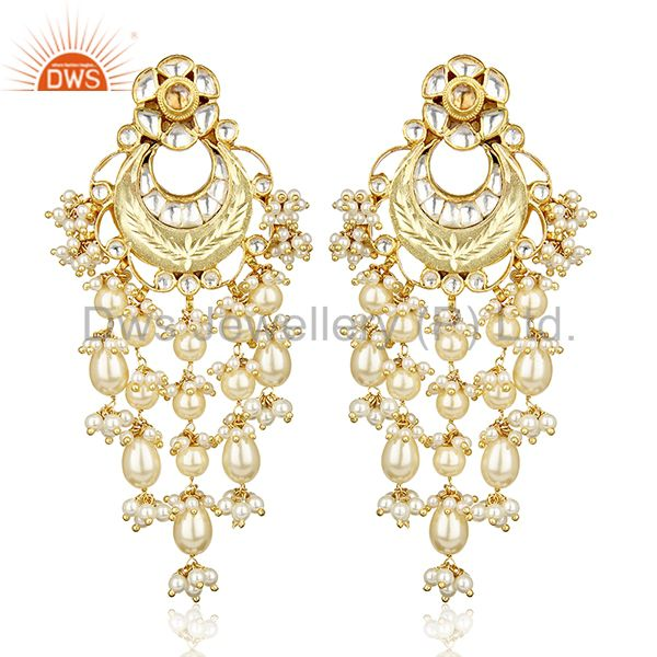 Artistry Precision Handcrafted Gold Plated Pearl Dangle Silver Bridal Earring