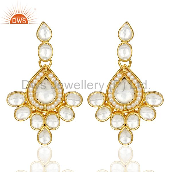 Polki Embelished Traditional Gold Plated Silver Bridesmaid Earring