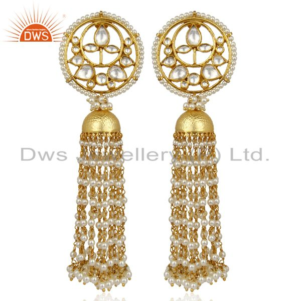 Kundan Polki Long Jhumka Traditional Bollywood Silver Earring