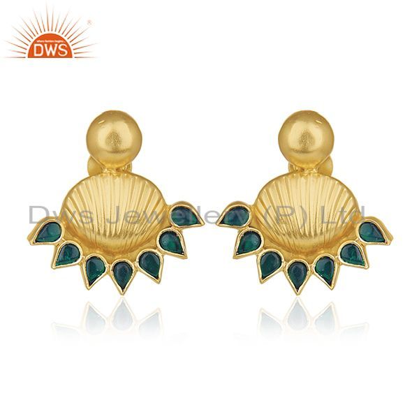 Indian Traditional 925 Silver Gold Plated Kundan Stud Earrings Manufacturers