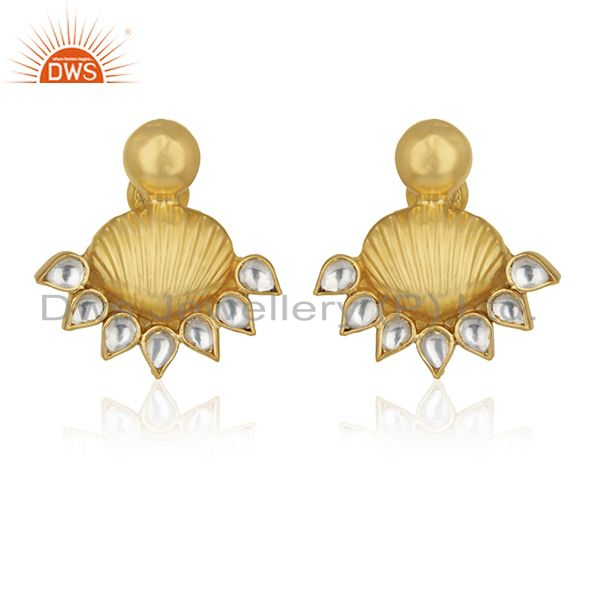 18k Gold Plated 925 Silver White Kundan Traditional Stud Earrings Wholesale