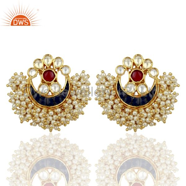 Blue Stone Studded Kundan Polki Chand Bali Traditional Wholesale Earring