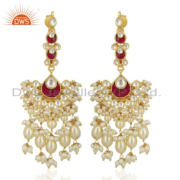 kundan Bridal 925 Sterling Silver Gold Plated Wedding Jewelry Collection