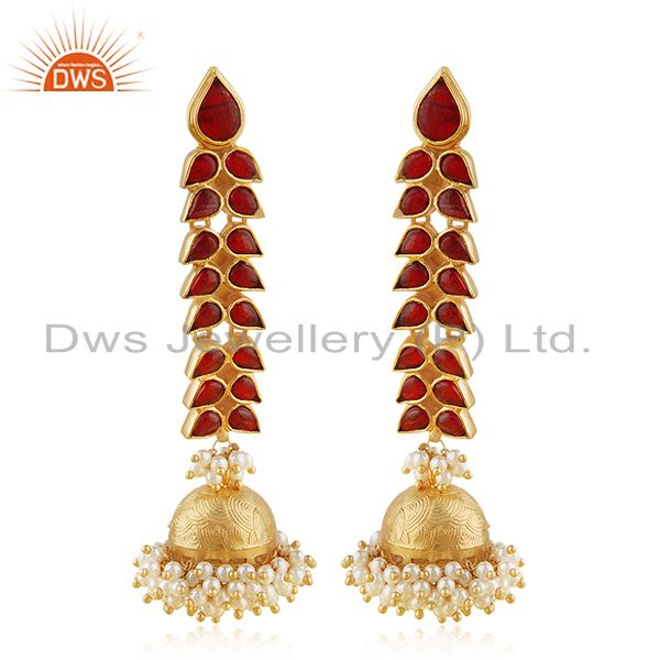 Indian Traditional Kundan Natural Pearl Silver Jhumka Earring Manufacturer