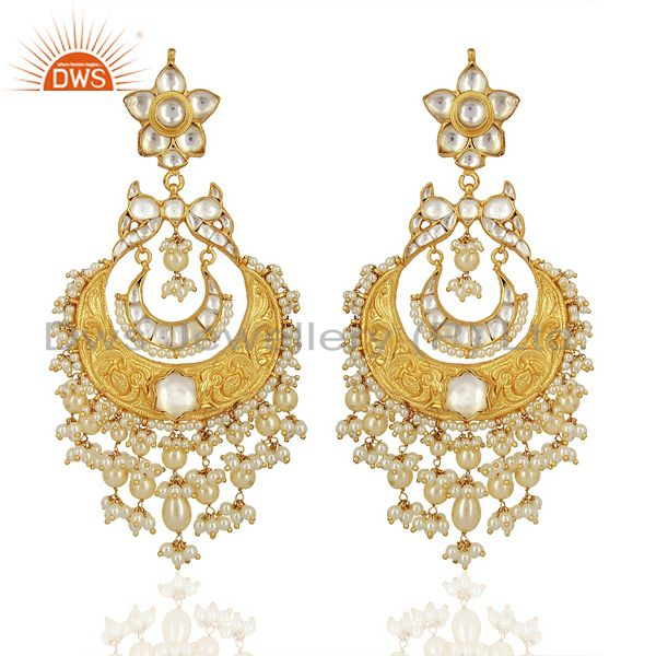 Beautiful Chandbali With Meena Work Sterling Silver Gold Plated Kundan Jewelry