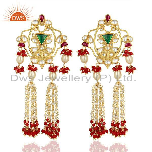 Indian Designer 92.5 Sterling Silver Gold Plated Chandelier Earring Jewelry