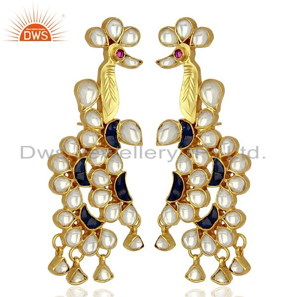 Indian Bollywood New Kundan Polki 925 Sterling Silver Gold Plated Stud Earring