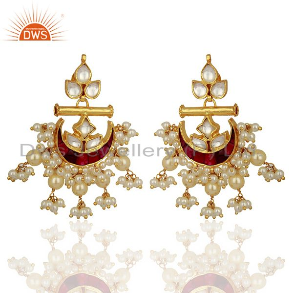 Indian Traditional Kundan Polki Sterling Silver Gold Plated Chand Bali Earrings