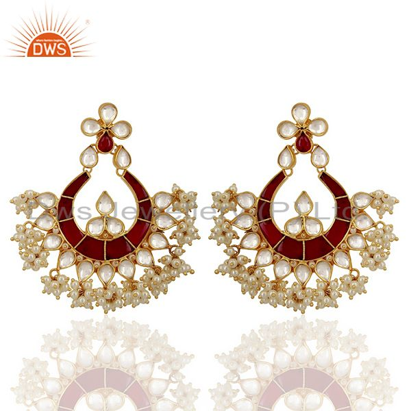 Kundand Polki With Pearl Drop Sterling Silver Gold Plated Indian Wedding Jewelry