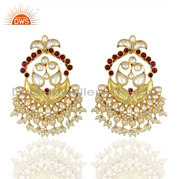 Kundan Polki With Pearl Drop 925 Sterling Silver Indian Traditional Jewelry