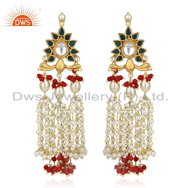 Indian Traditional Kundan Meena Pearl 925 Silver Earring Manufacturer
