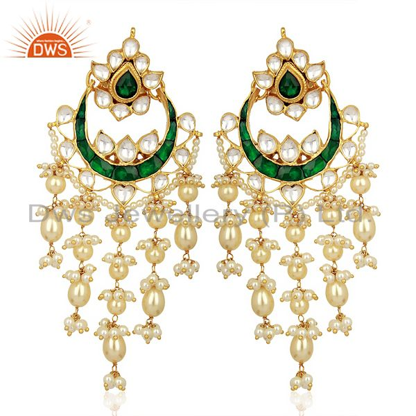 Indian Wedding Collection 925 Sterling Silver Gold Plated Chand Bali Earrings