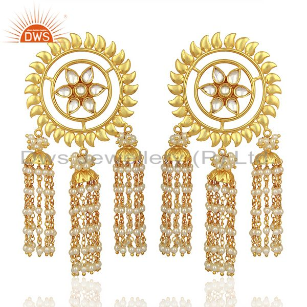 Kundan Polki With Multiple Jhumkas Sterling Silver Gold Plated Earring Jewelry