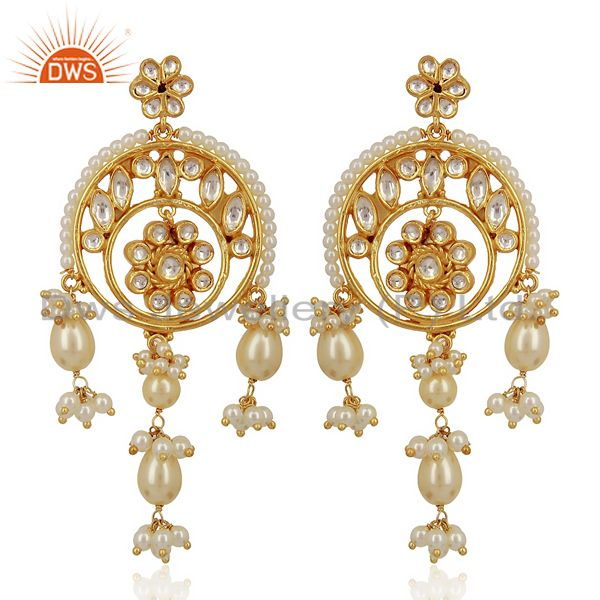 Kundan Polki 92.5 Sterling Silver Gold Plated Chandelier Earrings Jewelry
