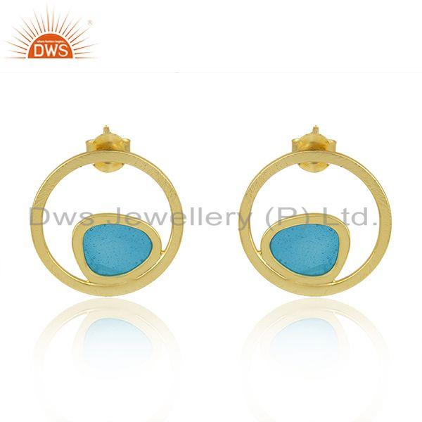 Gold Plated 925 Sterling Silver Blue Enamel Designer Earring Supplier