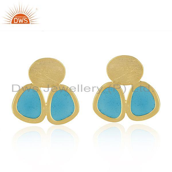925 Silver Gold Plated Handmade Blue Enamel Designer Earrings Supplier