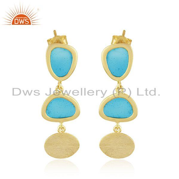 Handmade Blue Enamel Gold Plated 925 Sterling Silver Earrings Supplier