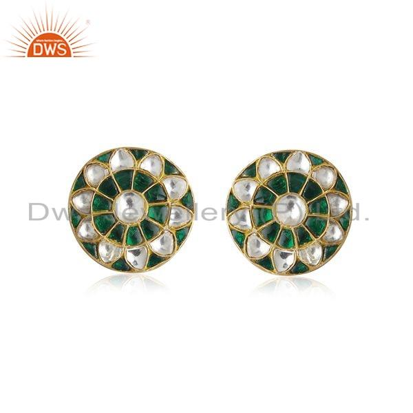 Floral Enamel Gold Plated Silver Traditional Stud Earrings Jewelry