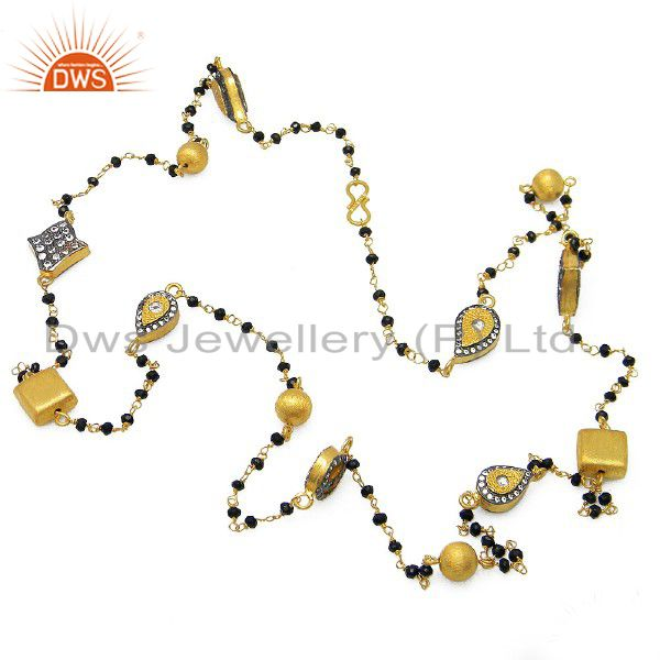 18K Gold Plated Sterling Silver CZ And Black Onyx Beaded Link Chain Necklace
