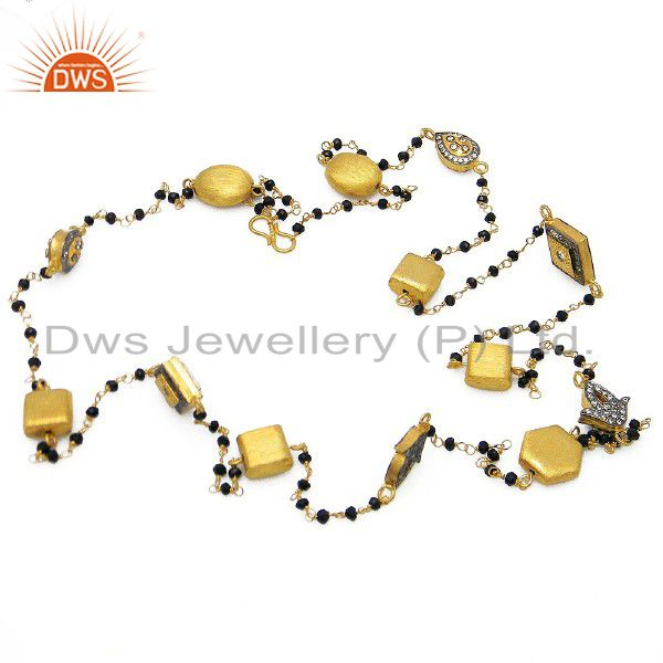 22K Yellow Gold Plated Sterling Silver CZ And Black Onyx Beaded Chain Necklace