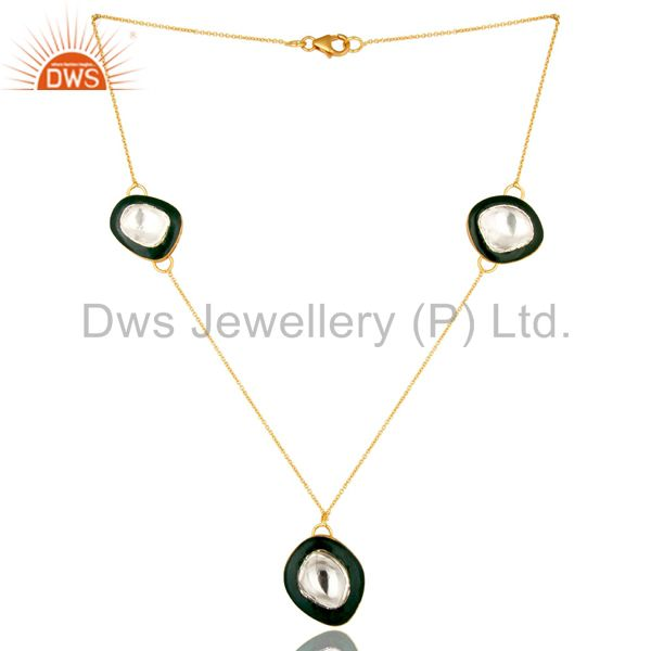18K Gold Plated Sterling Silver Crystal Polki And Green Enamel Fashion Necklace