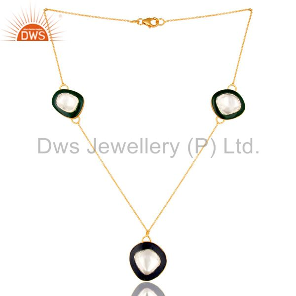 18K Gold Plated Sterling Silver Crystal Polki And Enamel Work Fashion Necklace