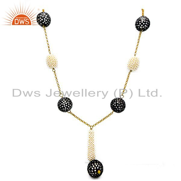 22K Yellow Gold Plated Sterling Silver CZ And Pearl Vintage Designer Necklace