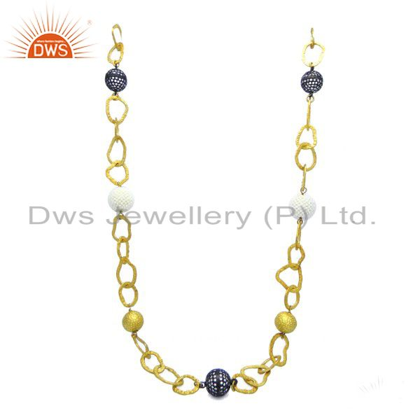 18K Gold On Sterling Silver Cubic Zirconia And Pearl Beaded Link Chain Necklace