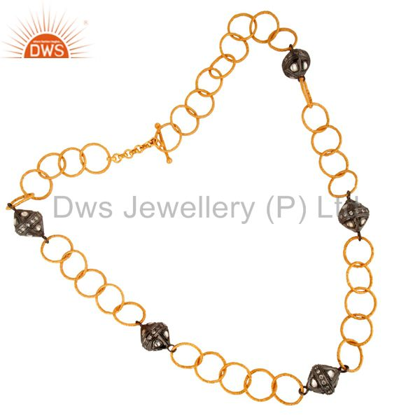 Handmade Sterling Silver Cubic Zirconia 24K Gold Plated Link Chain Necklace