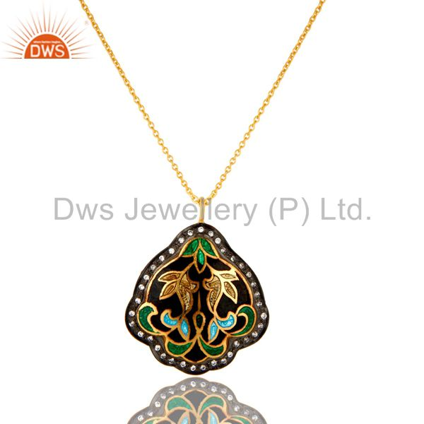 18K Gold Plated Sterling Silver Flower Enamel And CZ Designer Pendant With Chain