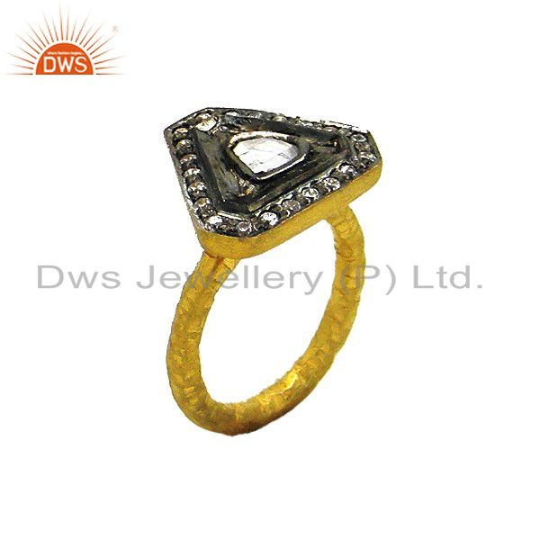 22K Yellow Gold Plated Sterling Silver Matte Hand Hammered Band Ring With CZ