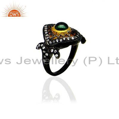 18K Yellow Gold Plated Sterling Silver CZ And Green Tourmaline Fashion Ring