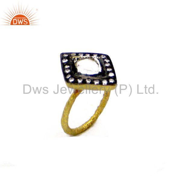 22K Yellow Gold Plated Sterling Silver CZ Crystal Polki Victorian Stackable Ring