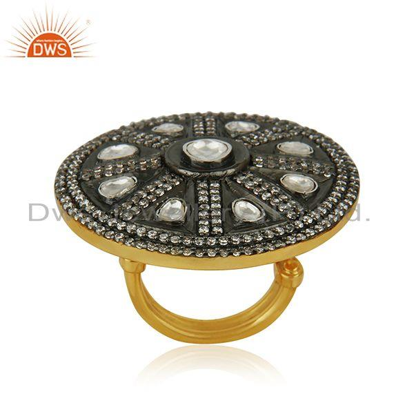 Crystal Quartz Victorian Style Gold Plated 925 Silver Cocktail Ring Manufacturer