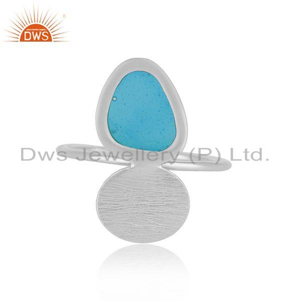 Handmade Blue Enamel Design Fine Sterling Silver Ring Manufacturer