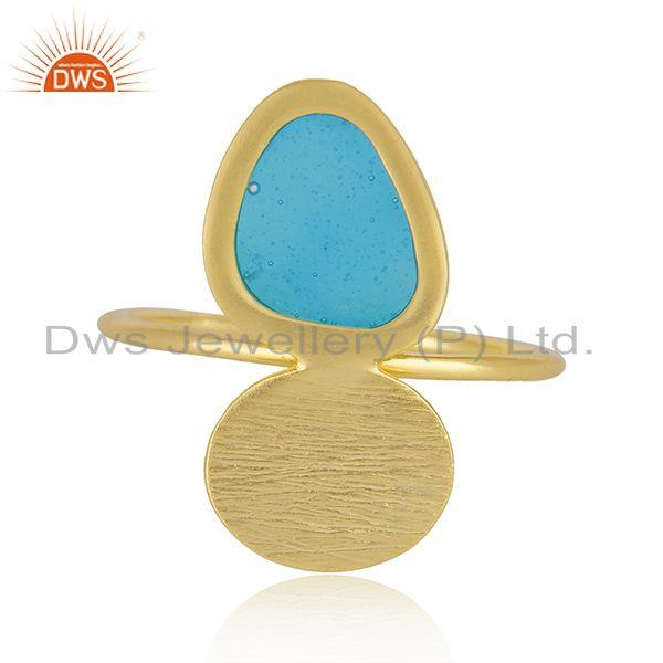 Handmade Enamel Design Gold Plated 925 Sterling Silver Designer Rings
