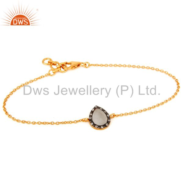 Moonstone & CZ 18ct Gold Plated on Sterling Silver Chain Friendship Bracelet