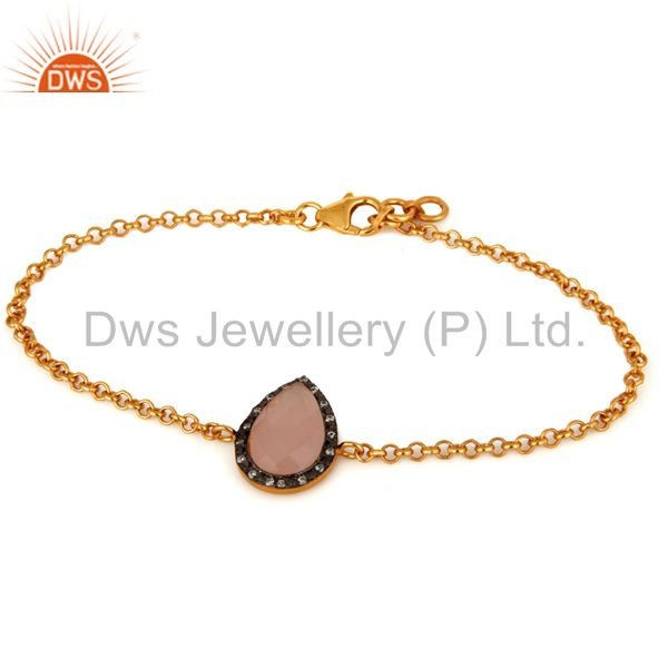 Rose Chalcedony Gemstone & CZ 18K Gold Plated 925 Sterling Silver Chain Bracelet