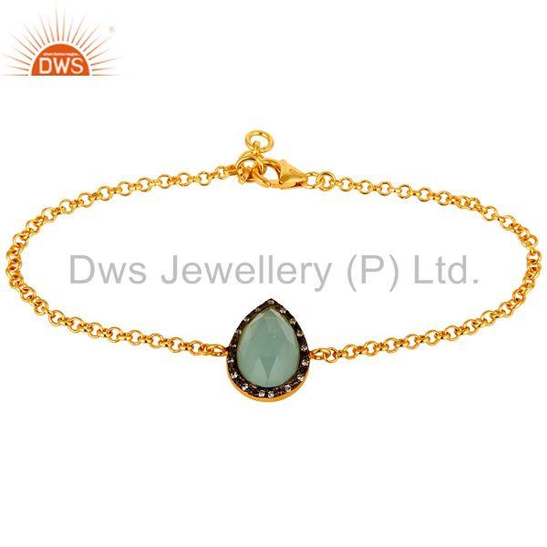 18K Yellow Gold Plated Sterling Silver Aqua Chalcedony Chain Bracelet With CZ