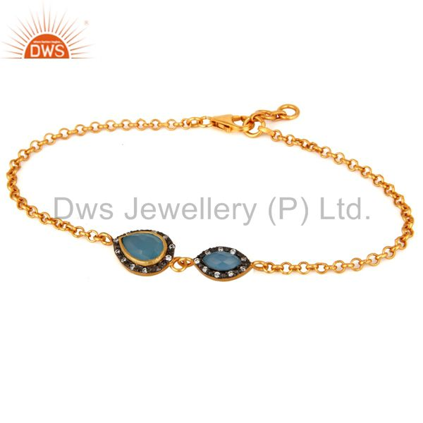 Blue Chalcedony Gemstone & CZ Sterling Silver Gold Plated Link Chain Bracelet