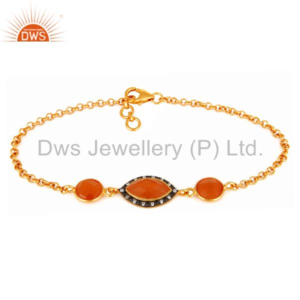 Cubic Zirconia & Peach Moonstone Gold Plated Sterling Silver Fashion Bracelets