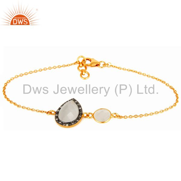 18K Yellow Gold Plated Sterling Silver Link Chain Bracelet With CZ & Moonstone