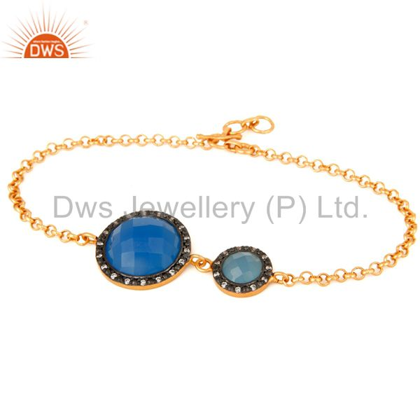 Faceted Blue Chalcedony 18Ct Gold Plated Sterling Silver Chain Bracelet With CZ