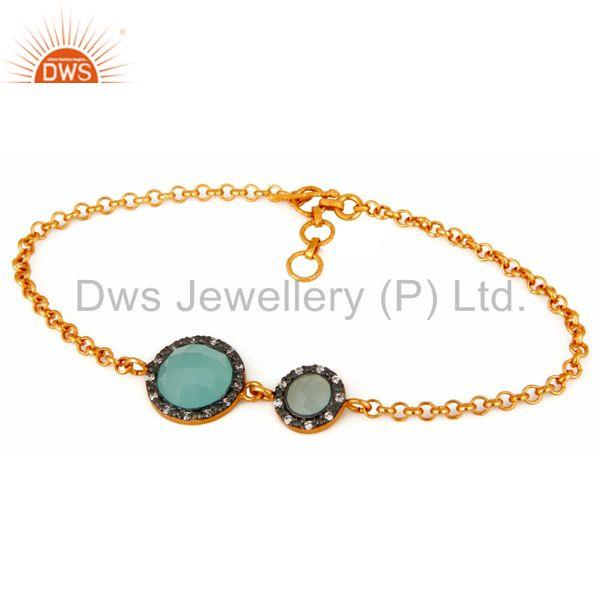Lab-Created Blue Aqua Chalcedony 925 Sterling Silver With Gold Plated Bracelet