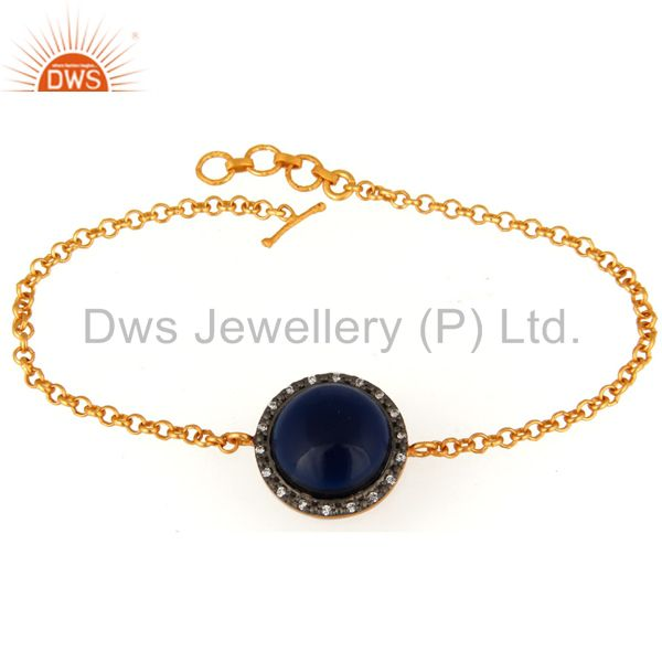 18K Gold Plated Sterling Silver Blue Corundum and White Zircon Accent Bracelet