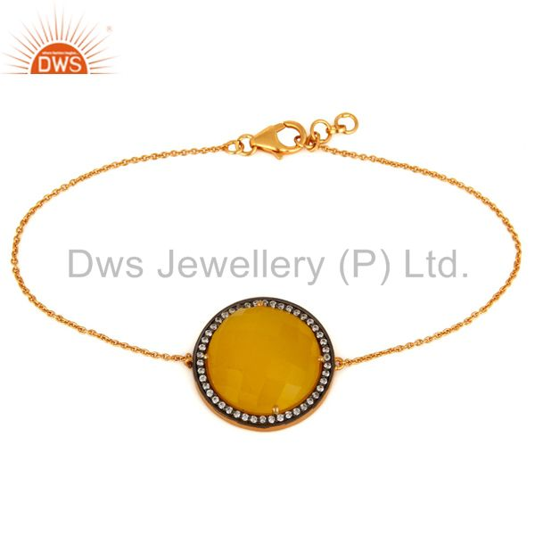 Yellow Moonstone & White Zircon Sterling Silver With Gold Plated Chain Bracelet
