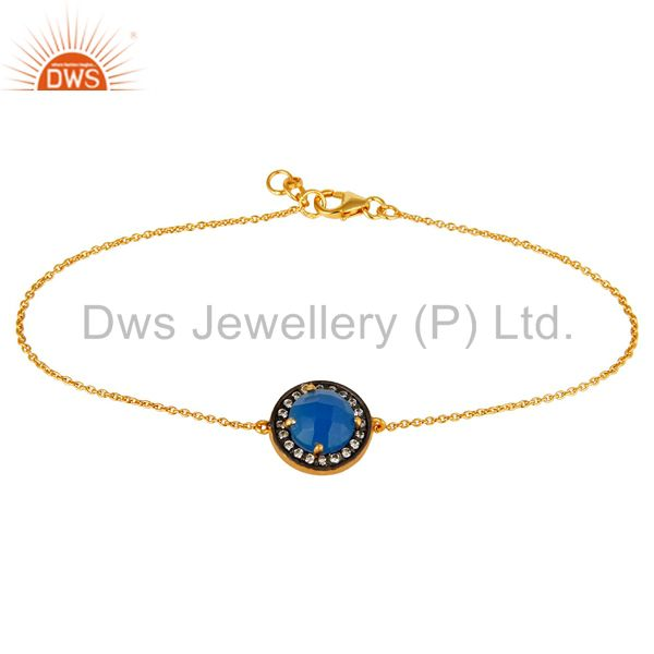 18K Yellow Gold Plated Sterling Silver Chalcedony And CZ Chain Bacelet