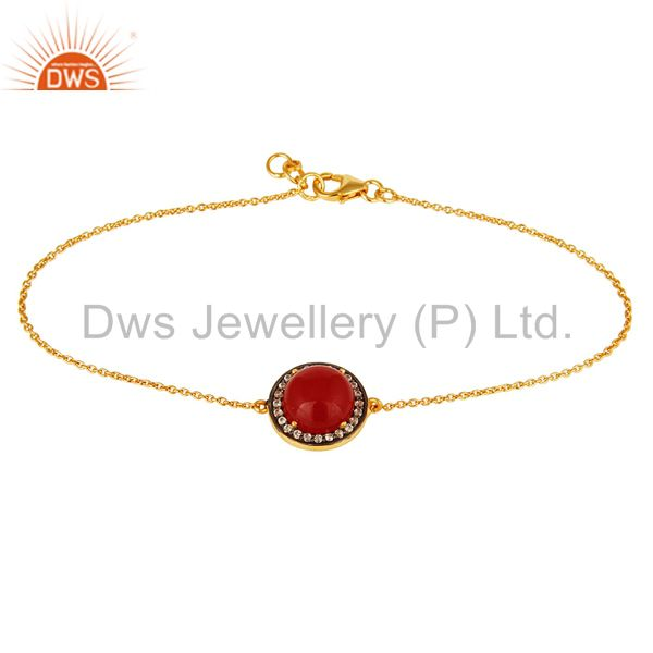 Red Aventurine Gemstone And CZ Chain Bracelet In 18K Gold Over Sterling Silver